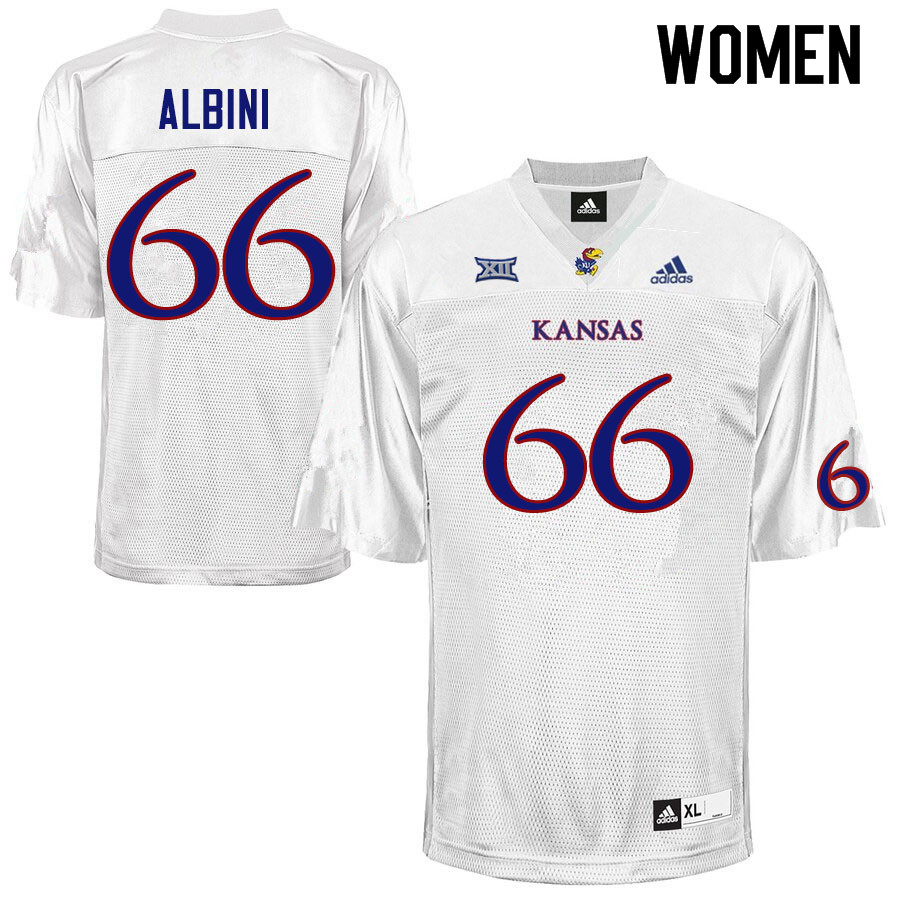 Women #66 Geno Albini Kansas Jayhawks College Football Jerseys Sale-White
