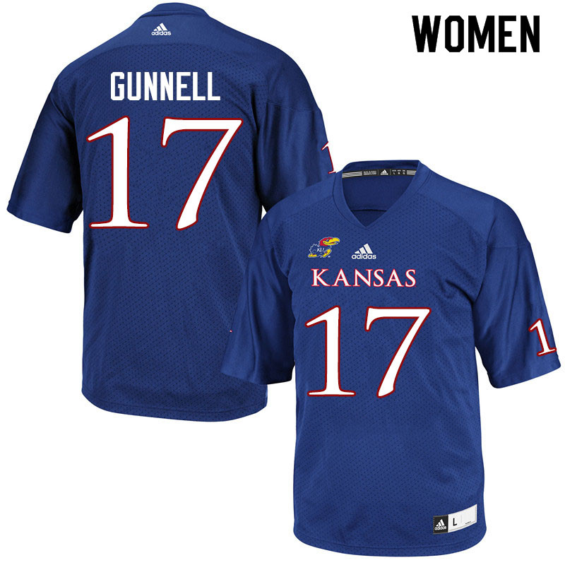 Women #17 Grant Gunnell Kansas Jayhawks College Football Jerseys Sale-Royal