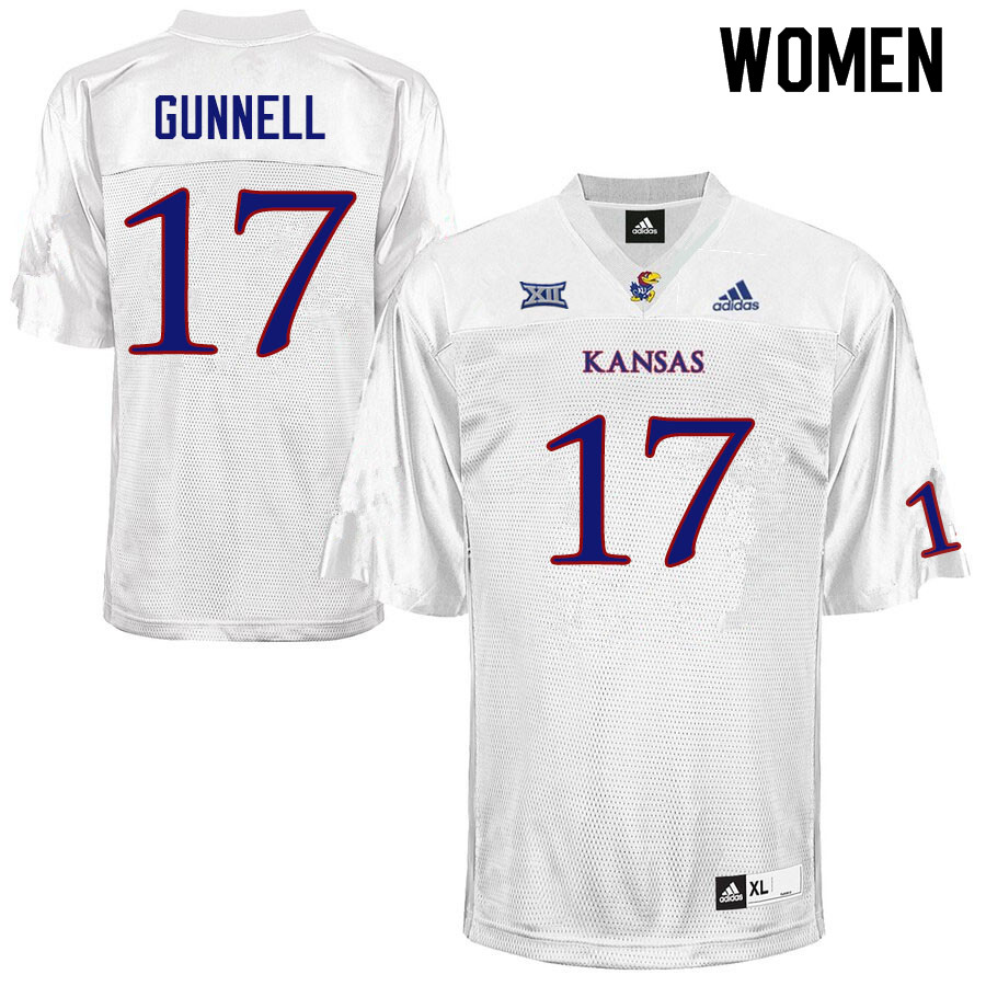 Women #17 Grant Gunnell Kansas Jayhawks College Football Jerseys Sale-White