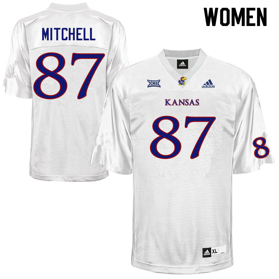 Women #87 Jaden Mitchell Kansas Jayhawks College Football Jerseys Sale-White