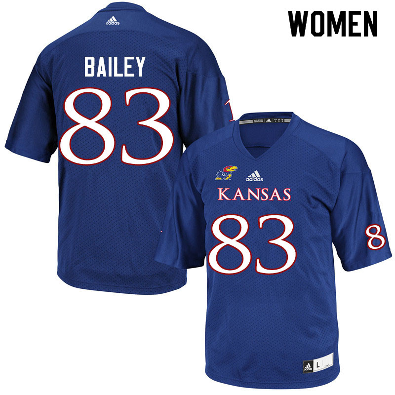 Women #83 Jailen Bailey Kansas Jayhawks College Football Jerseys Sale-Royal
