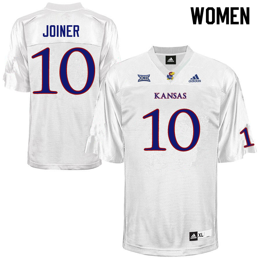 Women #10 Jamarye Joiner Kansas Jayhawks College Football Jerseys Sale-White