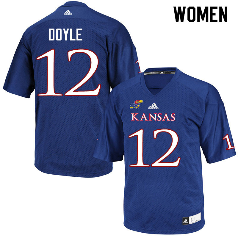 Women #12 Kevin Doyle Kansas Jayhawks College Football Jerseys Sale-Royal