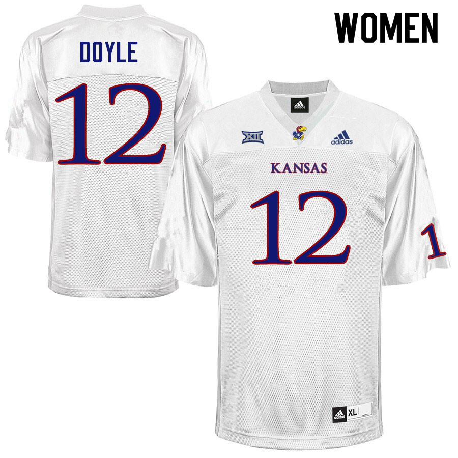 Women #12 Kevin Doyle Kansas Jayhawks College Football Jerseys Sale-White