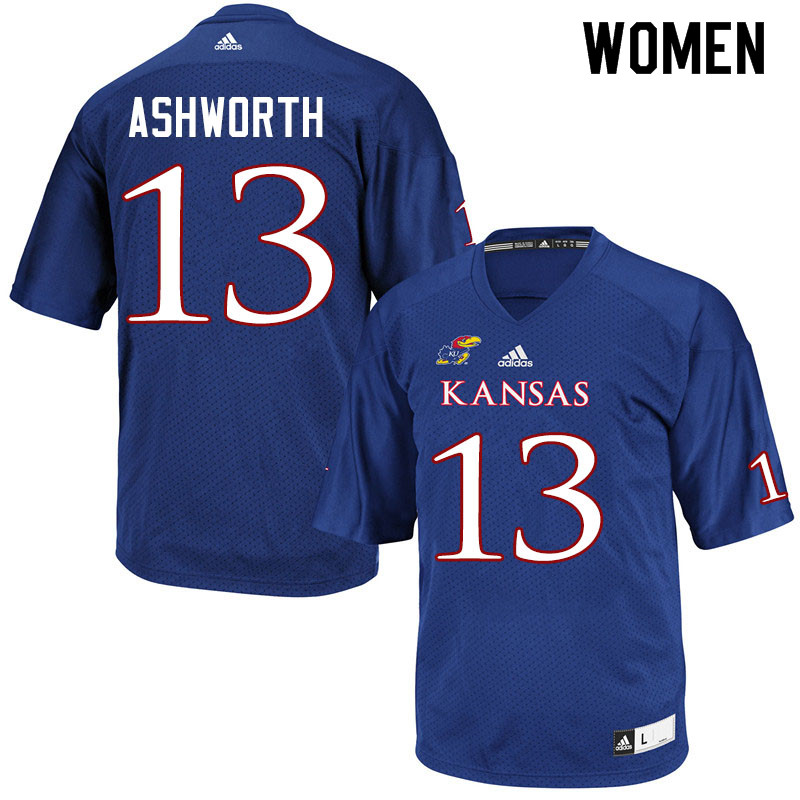 Women #13 Luke Ashworth Kansas Jayhawks College Football Jerseys Sale-Royal