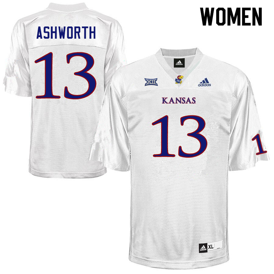 Women #13 Luke Ashworth Kansas Jayhawks College Football Jerseys Sale-White