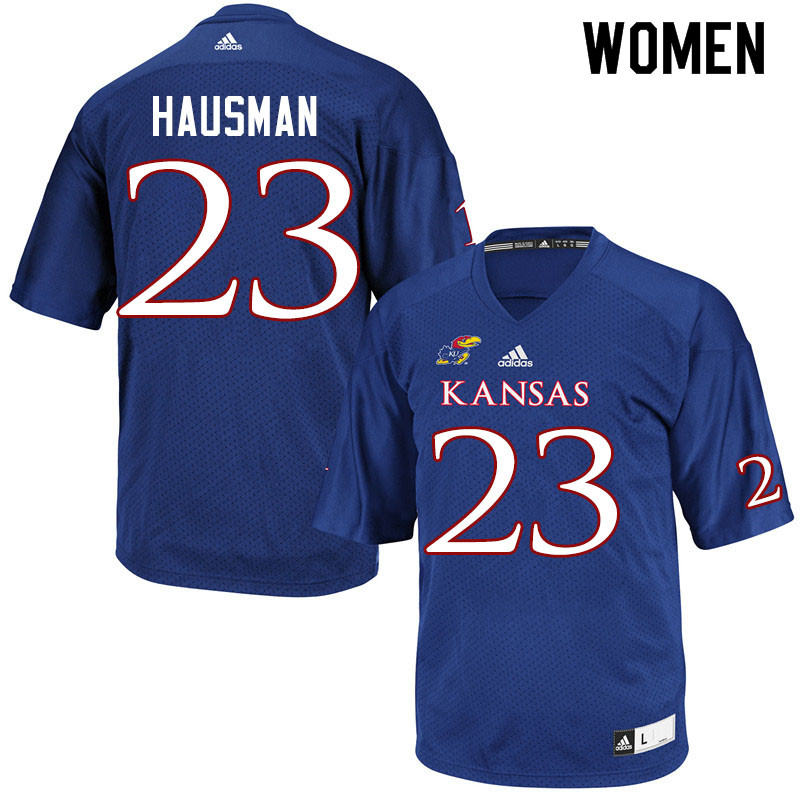Women #23 Malik Hausman Kansas Jayhawks College Football Jerseys Sale-Royal