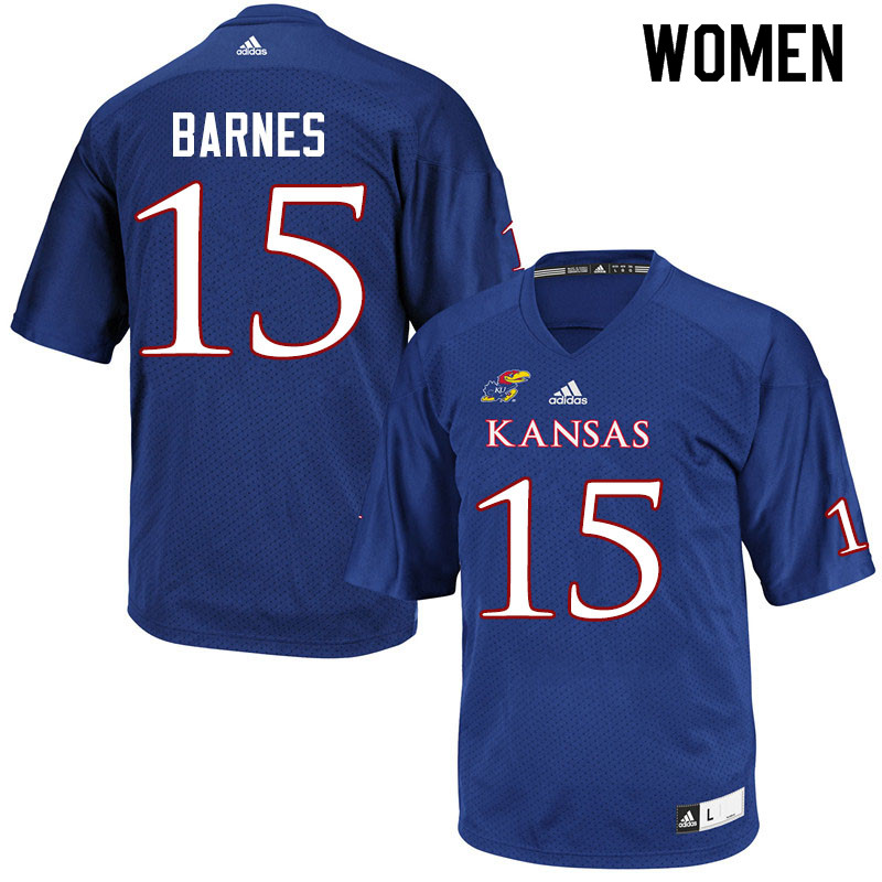 Women #15 McKenzie Barnes Kansas Jayhawks College Football Jerseys Sale-Royal