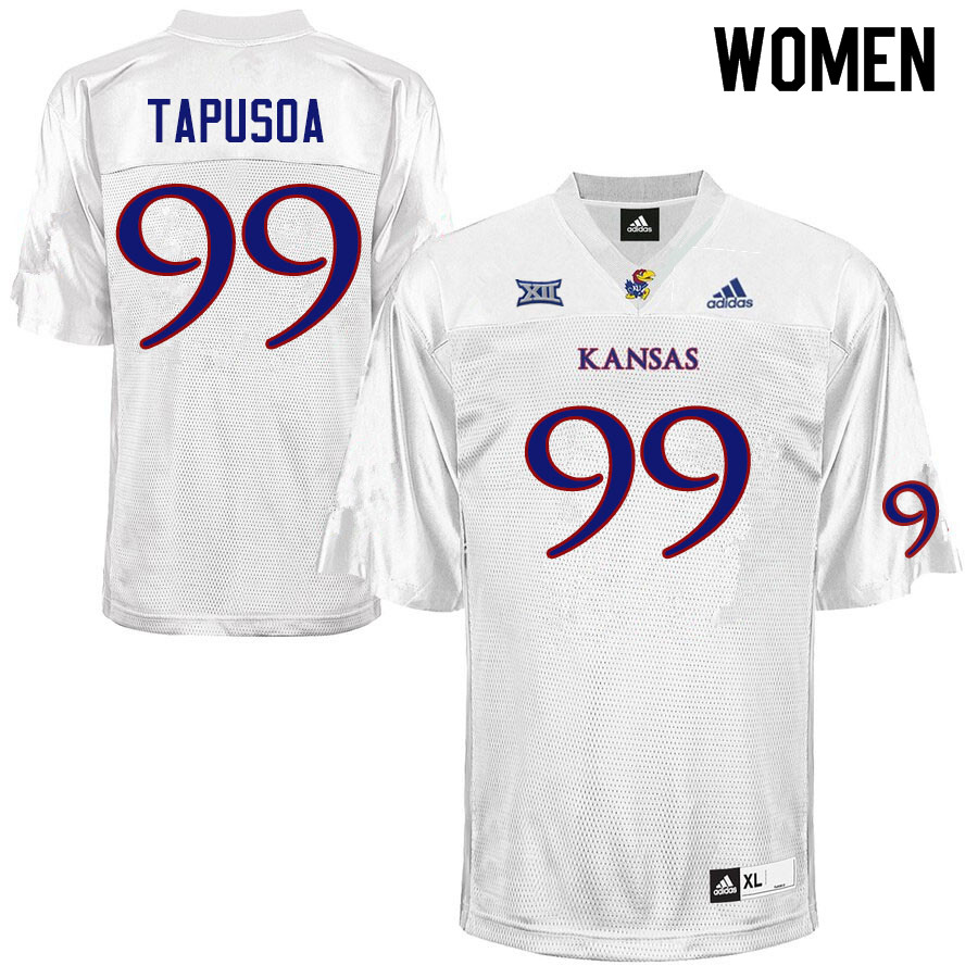 Women #99 Myles Tapusoa Kansas Jayhawks College Football Jerseys Sale-White