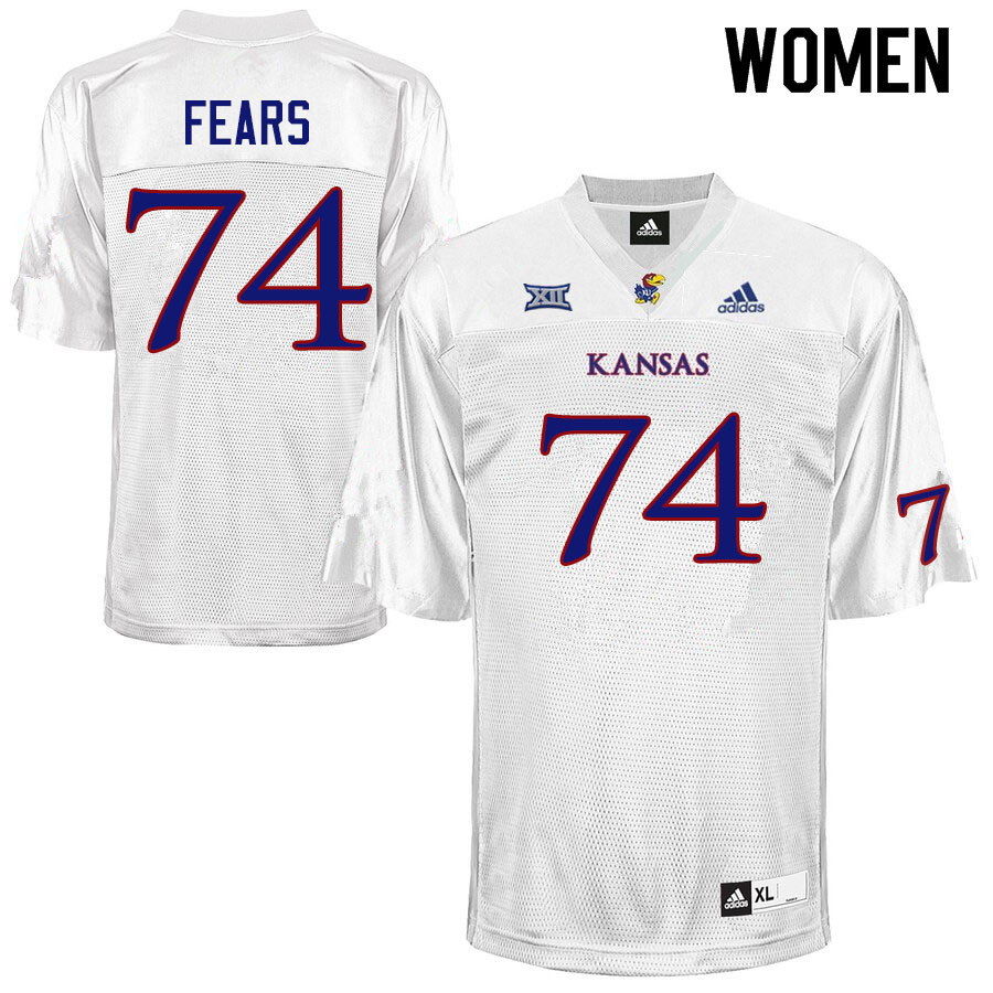 Women #74 Paiton Fears Kansas Jayhawks College Football Jerseys Sale-White