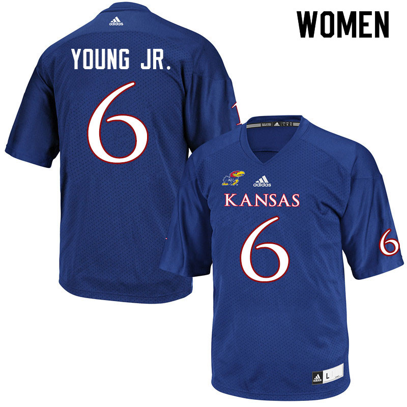 Women #6 Scottie Young Jr. Kansas Jayhawks College Football Jerseys Sale-Royal