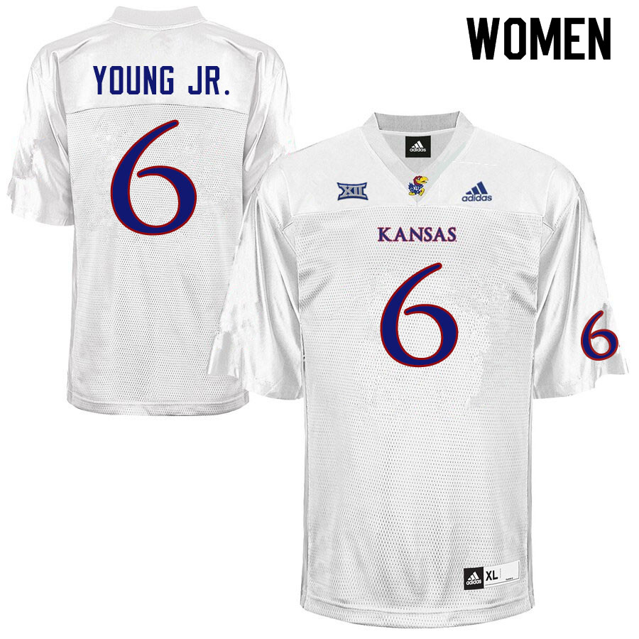 Women #6 Scottie Young Jr. Kansas Jayhawks College Football Jerseys Sale-White