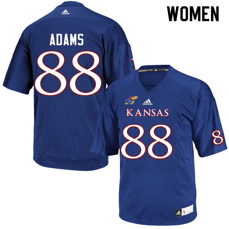 Women #88 Tre Adams Kansas Jayhawks College Football Jerseys Sale-Royal