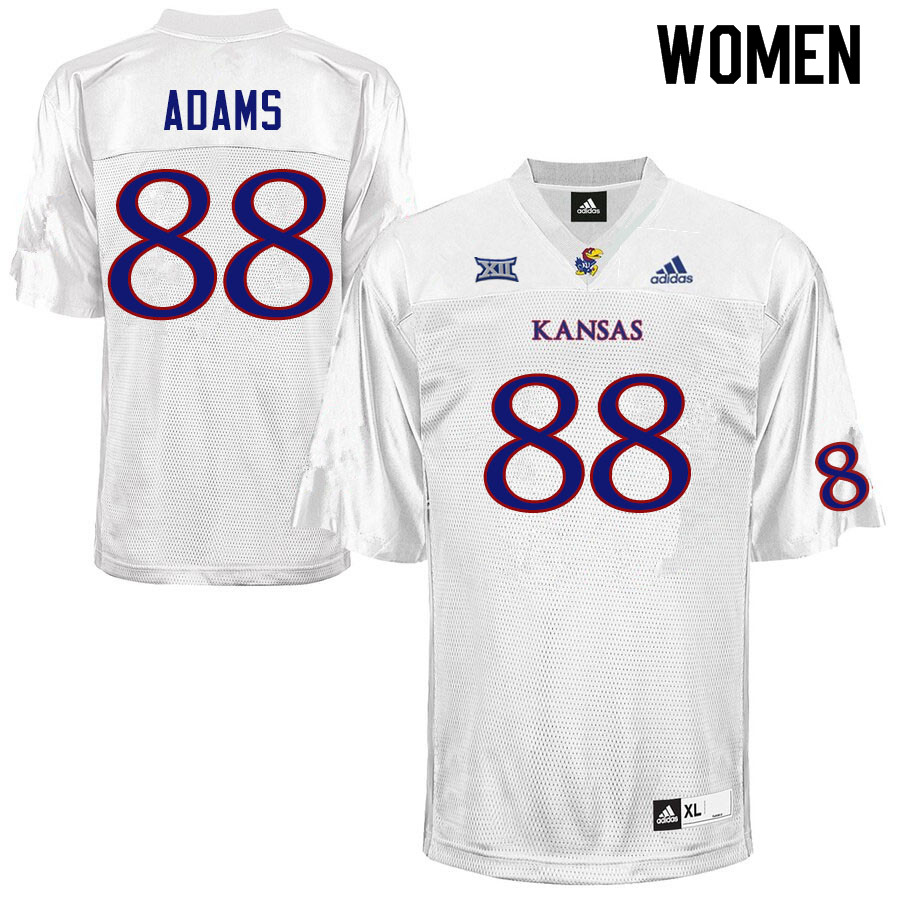 Women #88 Tre Adams Kansas Jayhawks College Football Jerseys Sale-White