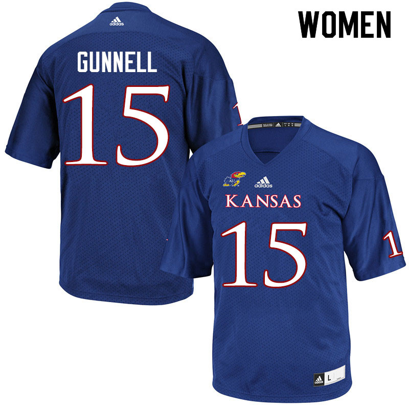 Women #15 William Gunnell Kansas Jayhawks College Football Jerseys Sale-Royal