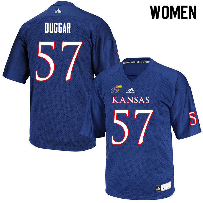 Women #57 Emory Duggar Kansas Jayhawks College Football Jerseys Sale-Royal