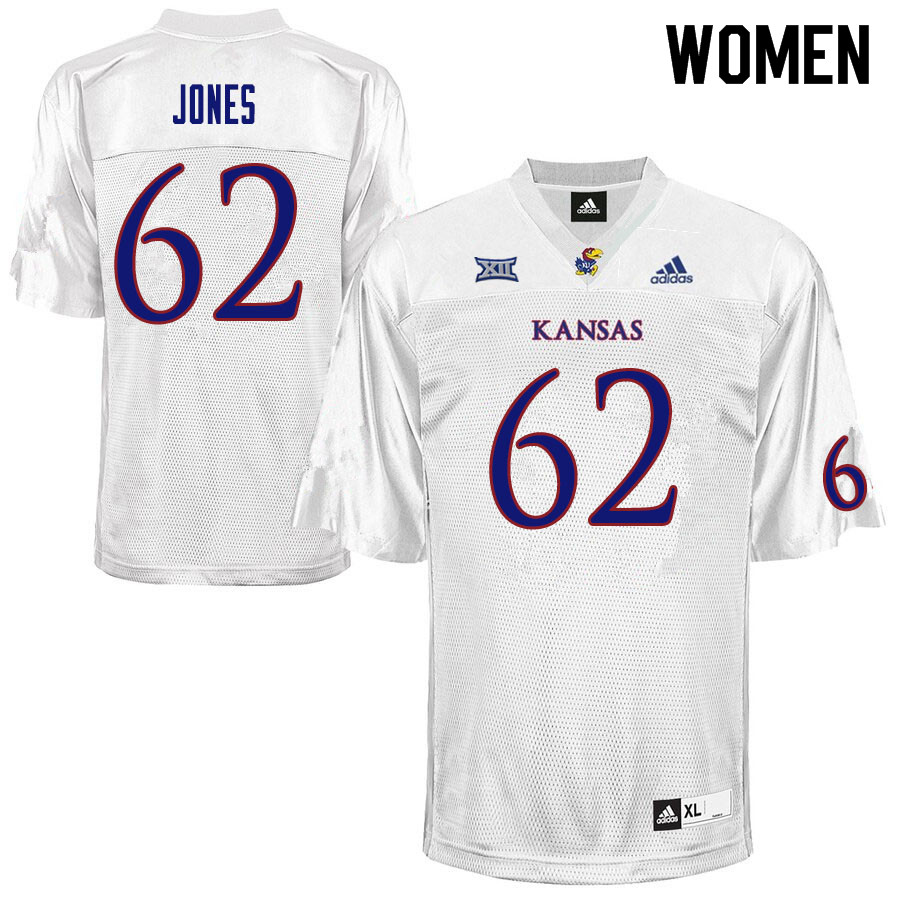 Women #62 Garrett Jones Kansas Jayhawks College Football Jerseys Sale-White