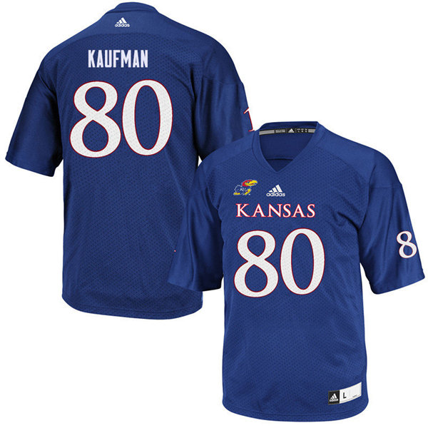 Women #80 Hunter Kaufman Kansas Jayhawks College Football Jerseys Sale-Royal