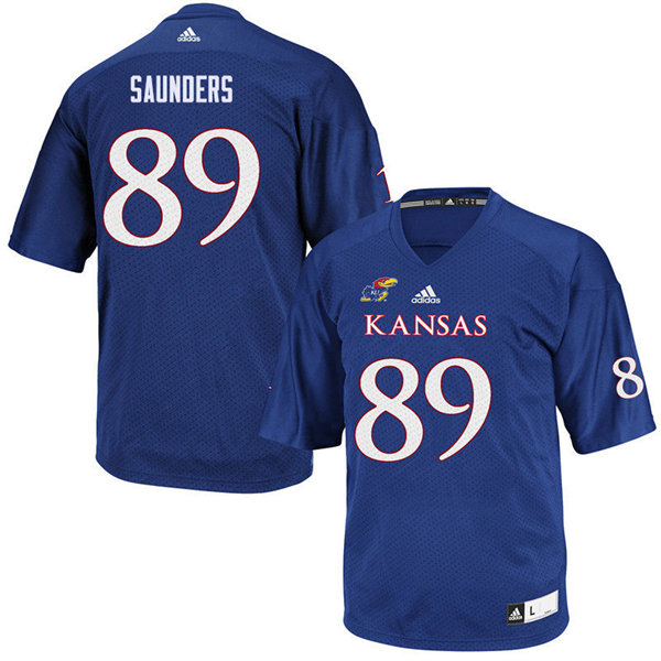 Women #89 Mavin Saunders Kansas Jayhawks College Football Jerseys Sale-Royal