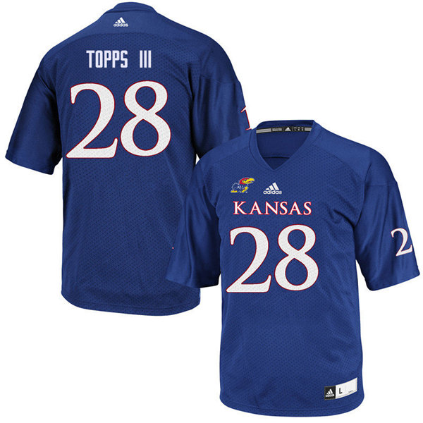Women #28 Robert Topps III Kansas Jayhawks College Football Jerseys Sale-Royal