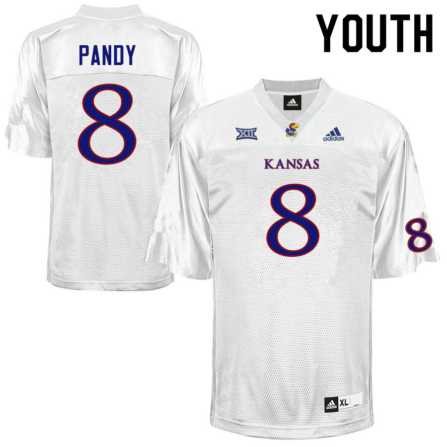 Youth #8 Anthony Pandy Kansas Jayhawks College Football Jerseys Sale-White