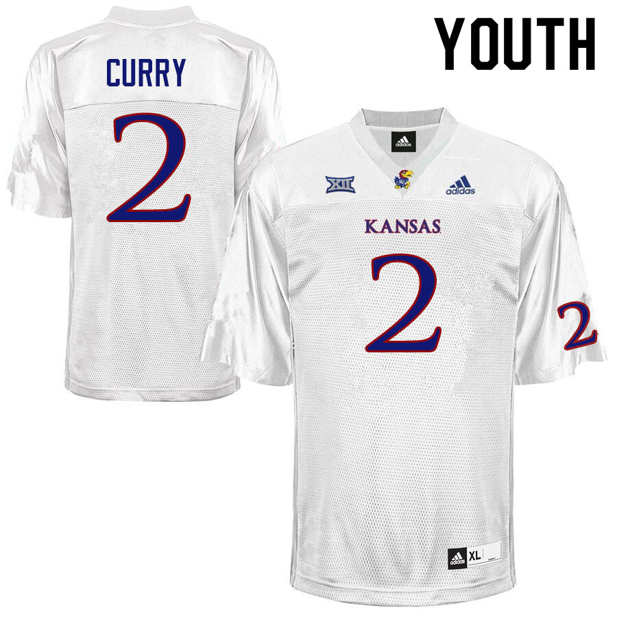 Youth #2 Boobie Curry Kansas Jayhawks College Football Jerseys Sale-White