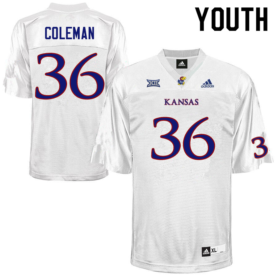 Youth #36 Bryce Coleman Kansas Jayhawks College Football Jerseys Sale-White