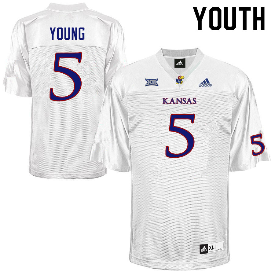 Youth #5 Christian Young Kansas Jayhawks College Football Jerseys Sale-White