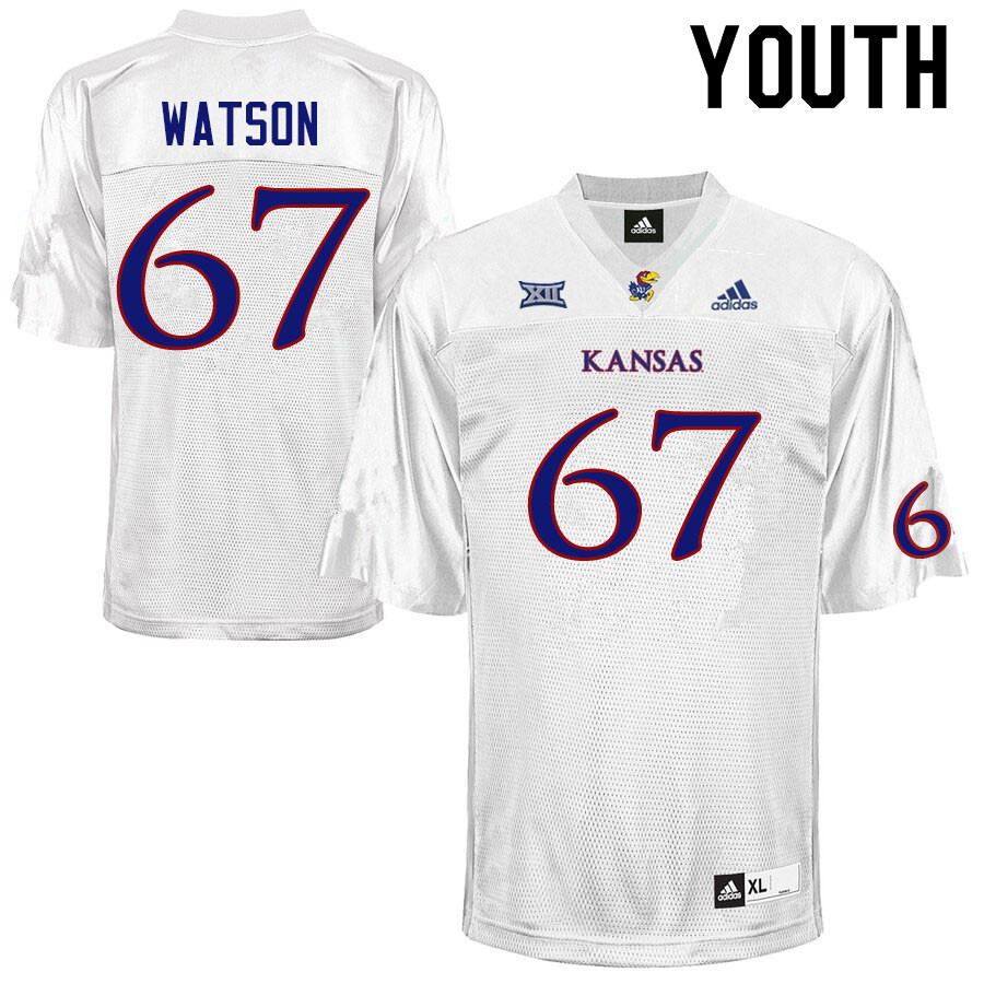 Youth #67 David Watson Kansas Jayhawks College Football Jerseys Sale-White