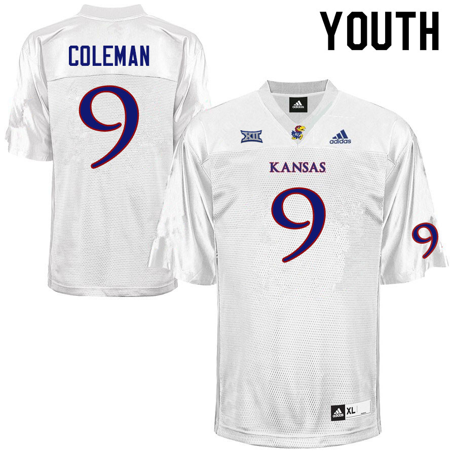 Youth #9 Day Day Coleman Kansas Jayhawks College Football Jerseys Sale-White