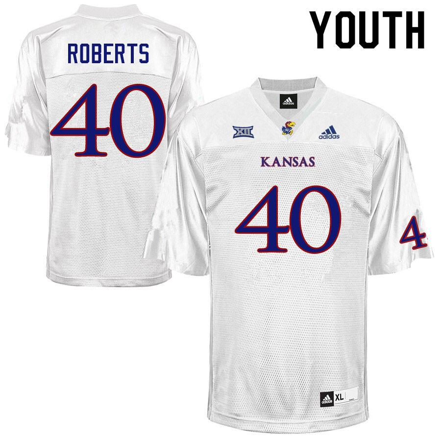 Youth #40 Eric Roberts Kansas Jayhawks College Football Jerseys Sale-White