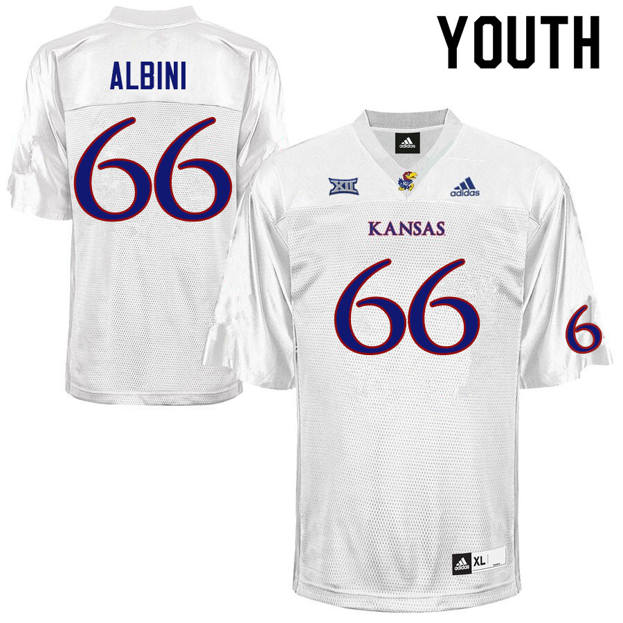 Youth #66 Geno Albini Kansas Jayhawks College Football Jerseys Sale-White