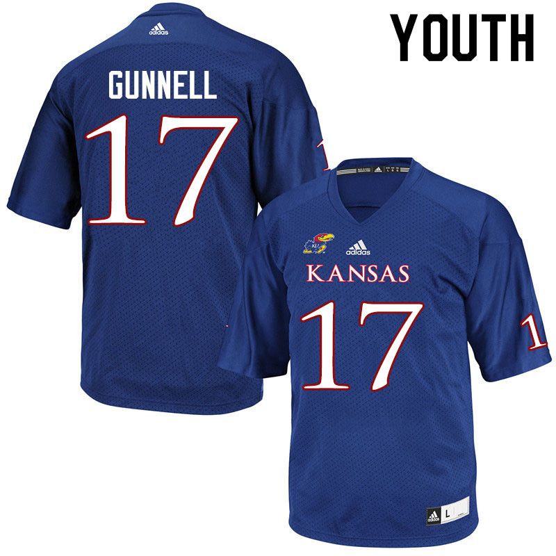 Youth #17 Grant Gunnell Kansas Jayhawks College Football Jerseys Sale-Royal