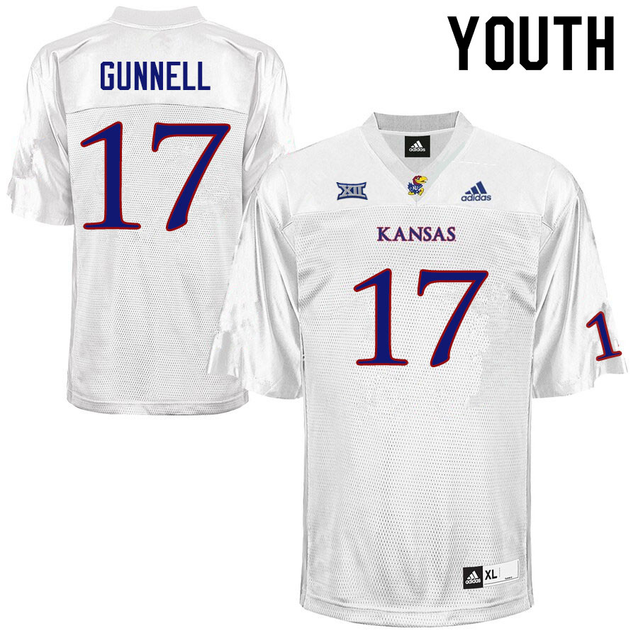 Youth #17 Grant Gunnell Kansas Jayhawks College Football Jerseys Sale-White