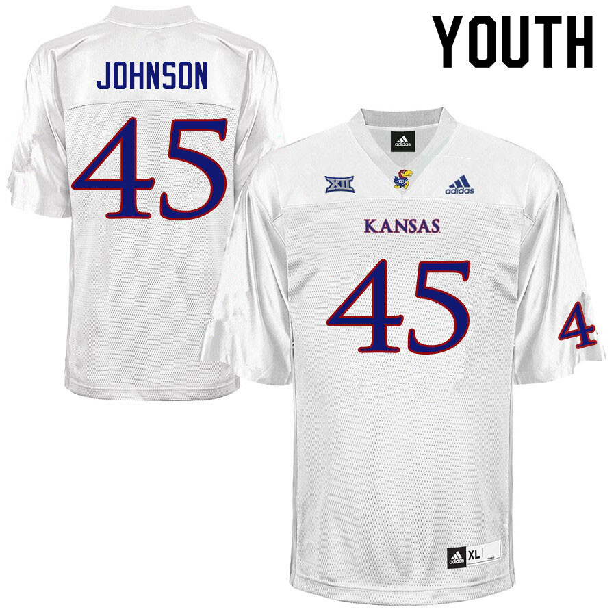 Youth #45 Issaiah Johnson Kansas Jayhawks College Football Jerseys Sale-White