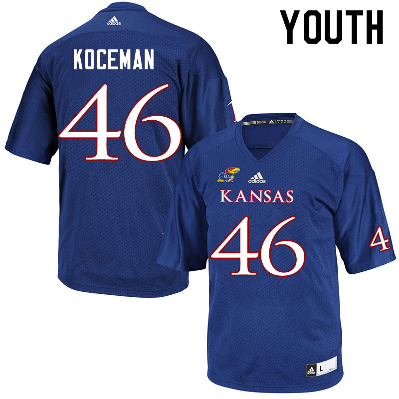 Youth #46 Jack Koceman Kansas Jayhawks College Football Jerseys Sale-Royal