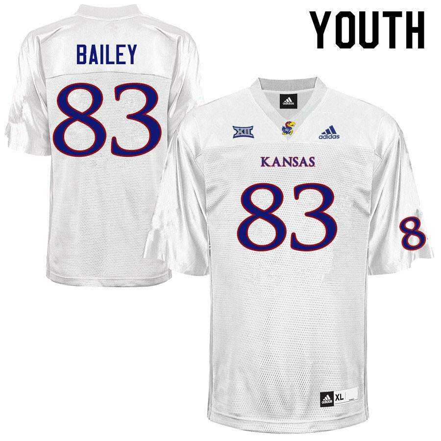 Youth #83 Jailen Bailey Kansas Jayhawks College Football Jerseys Sale-White