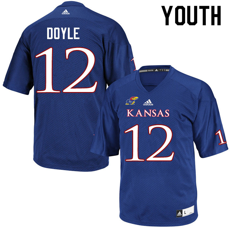 Youth #12 Kevin Doyle Kansas Jayhawks College Football Jerseys Sale-Royal