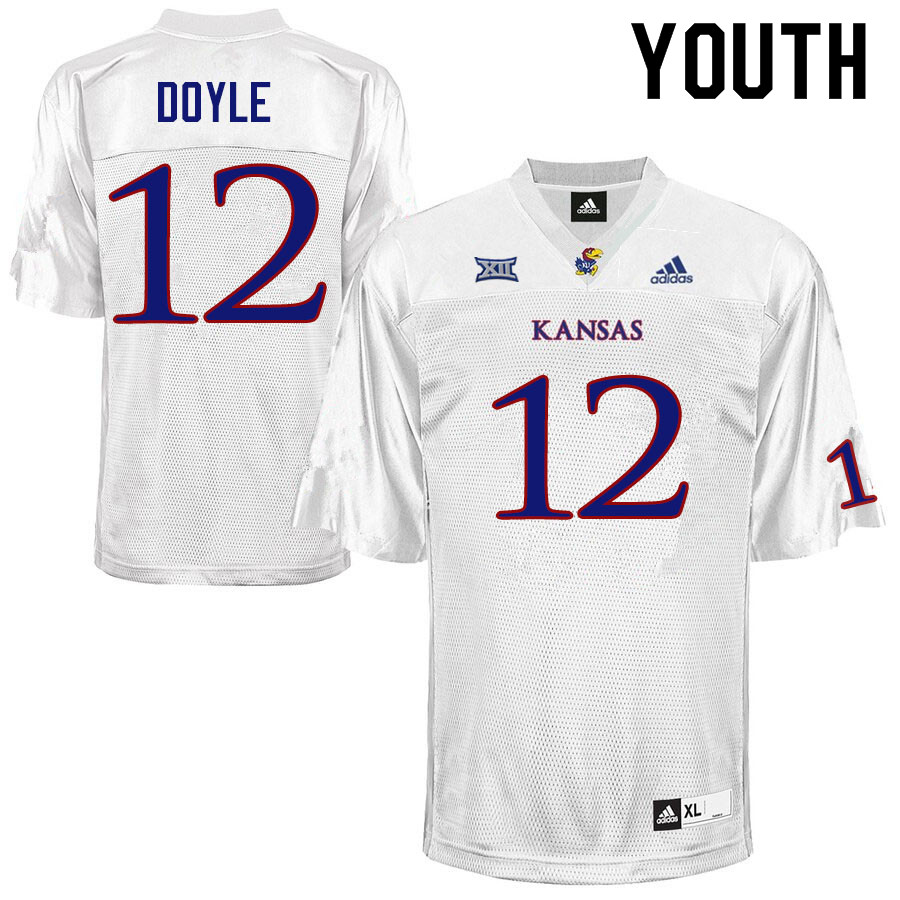 Youth #12 Kevin Doyle Kansas Jayhawks College Football Jerseys Sale-White