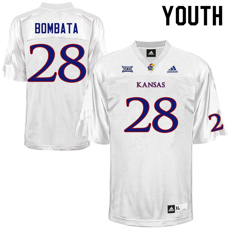 Youth #28 Nazar Bombata Kansas Jayhawks College Football Jerseys Sale-White