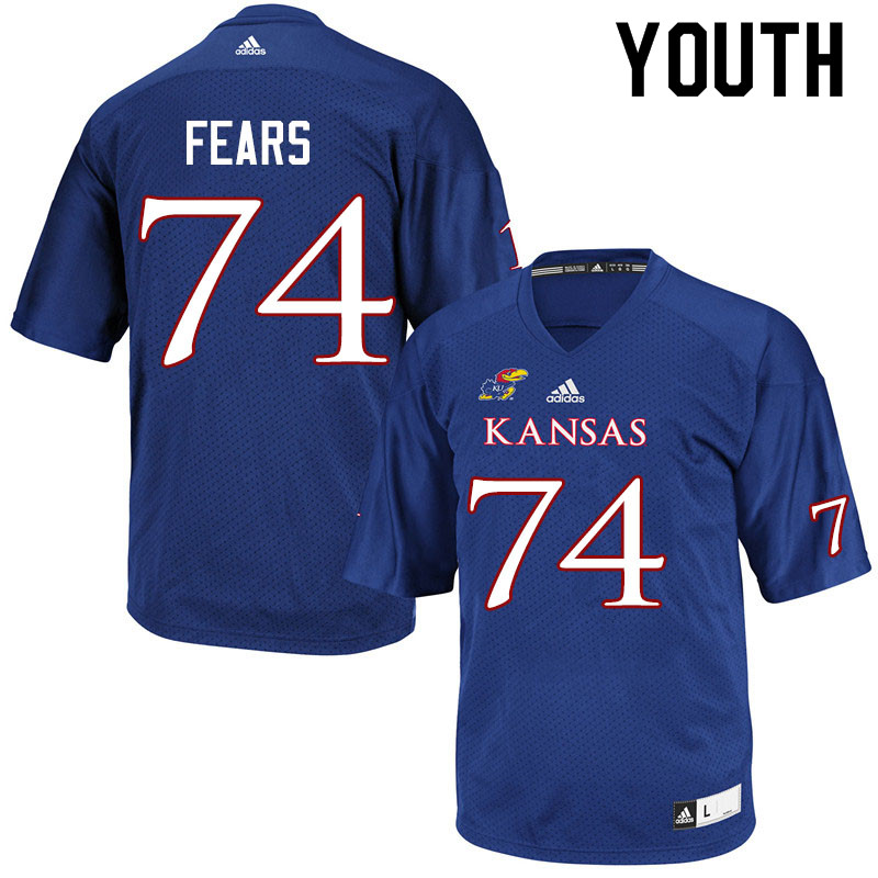 Youth #74 Paiton Fears Kansas Jayhawks College Football Jerseys Sale-Royal