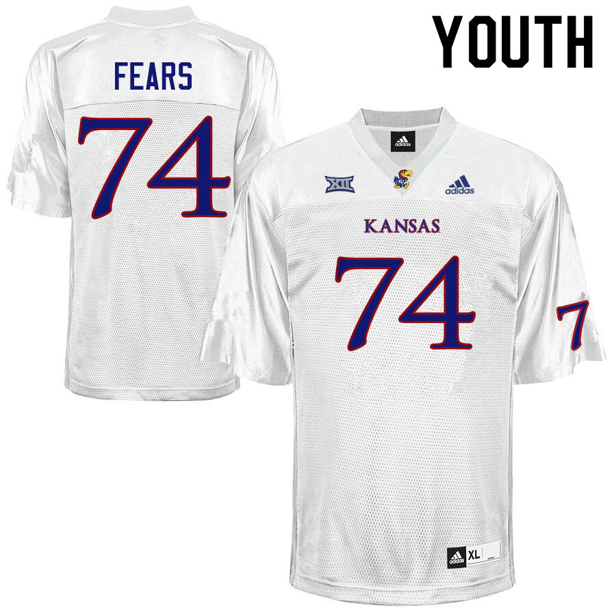 Youth #74 Paiton Fears Kansas Jayhawks College Football Jerseys Sale-White