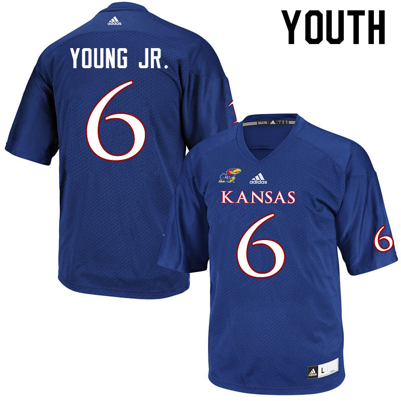Youth #6 Scottie Young Jr. Kansas Jayhawks College Football Jerseys Sale-Royal