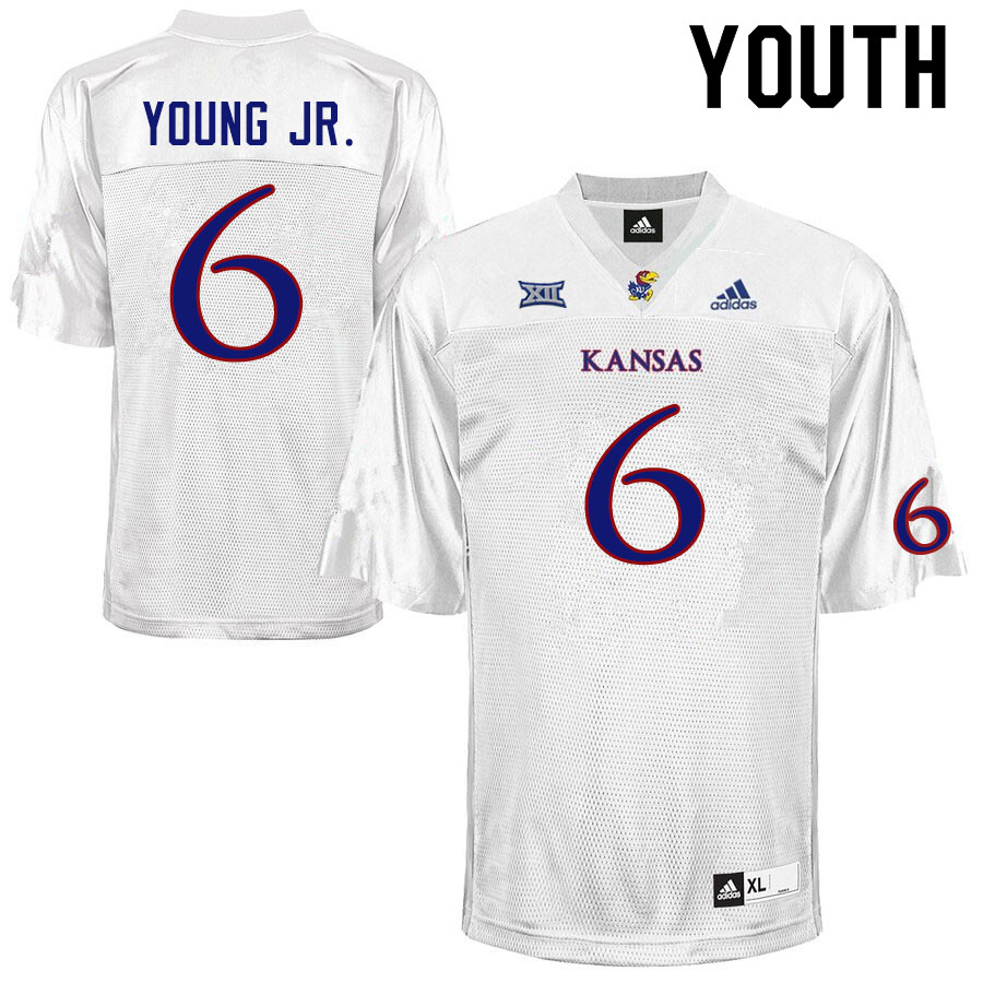 Youth #6 Scottie Young Jr. Kansas Jayhawks College Football Jerseys Sale-White