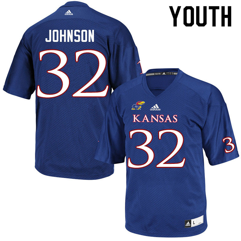 Youth #32 Terrence Johnson Kansas Jayhawks College Football Jerseys Sale-Royal
