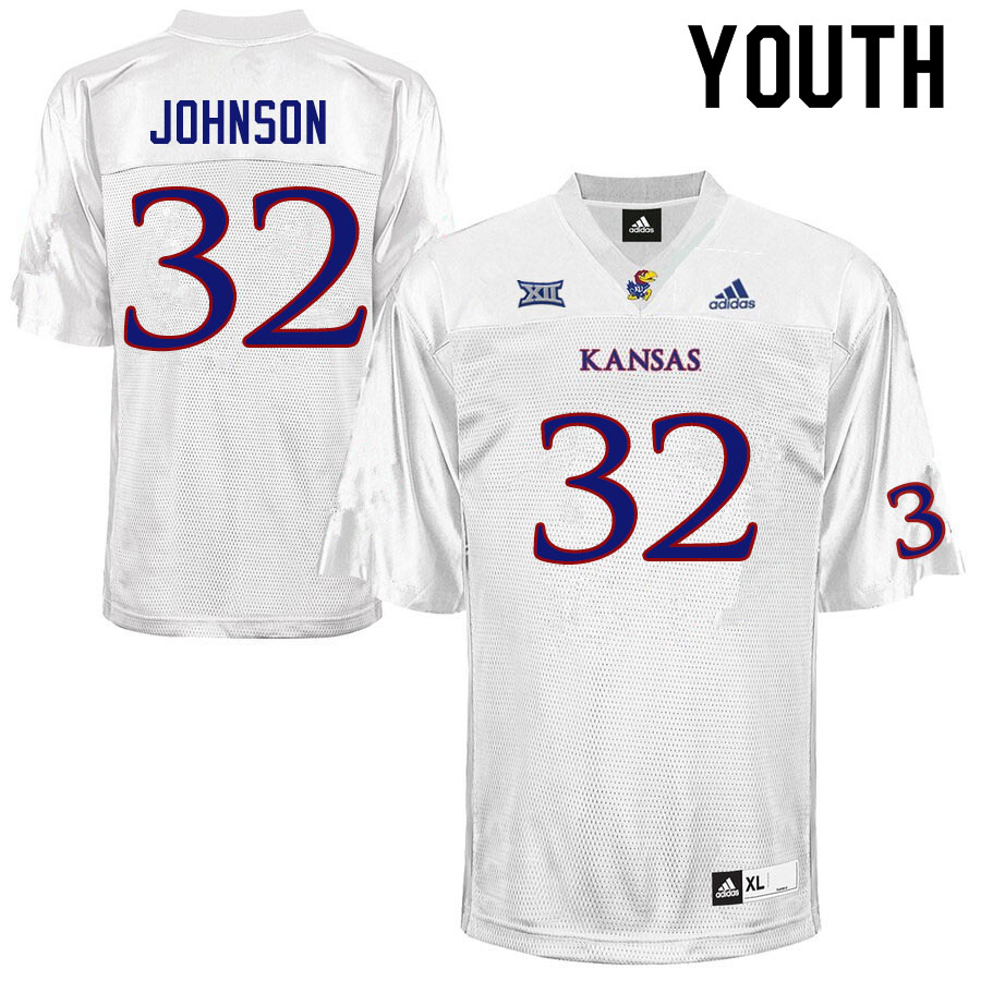 Youth #32 Terrence Johnson Kansas Jayhawks College Football Jerseys Sale-White
