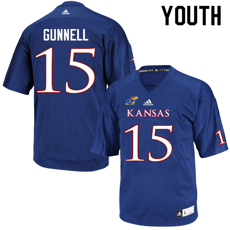 Youth #15 William Gunnell Kansas Jayhawks College Football Jerseys Sale-Royal