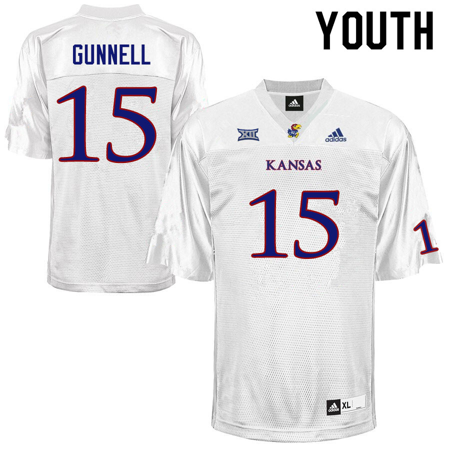 Youth #15 William Gunnell Kansas Jayhawks College Football Jerseys Sale-White