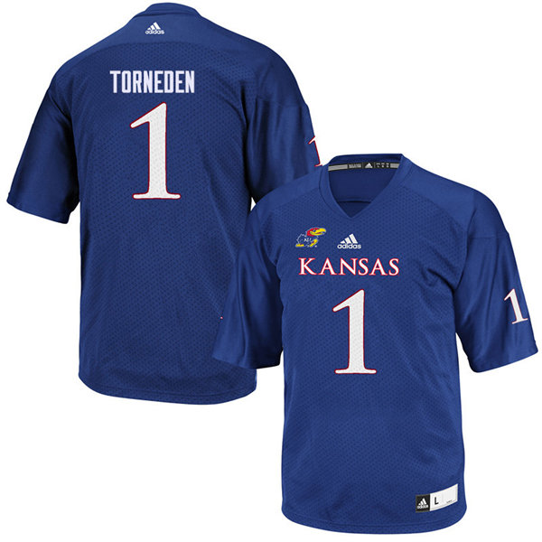 Youth #1 Bryce Torneden Kansas Jayhawks College Football Jerseys Sale-Royal