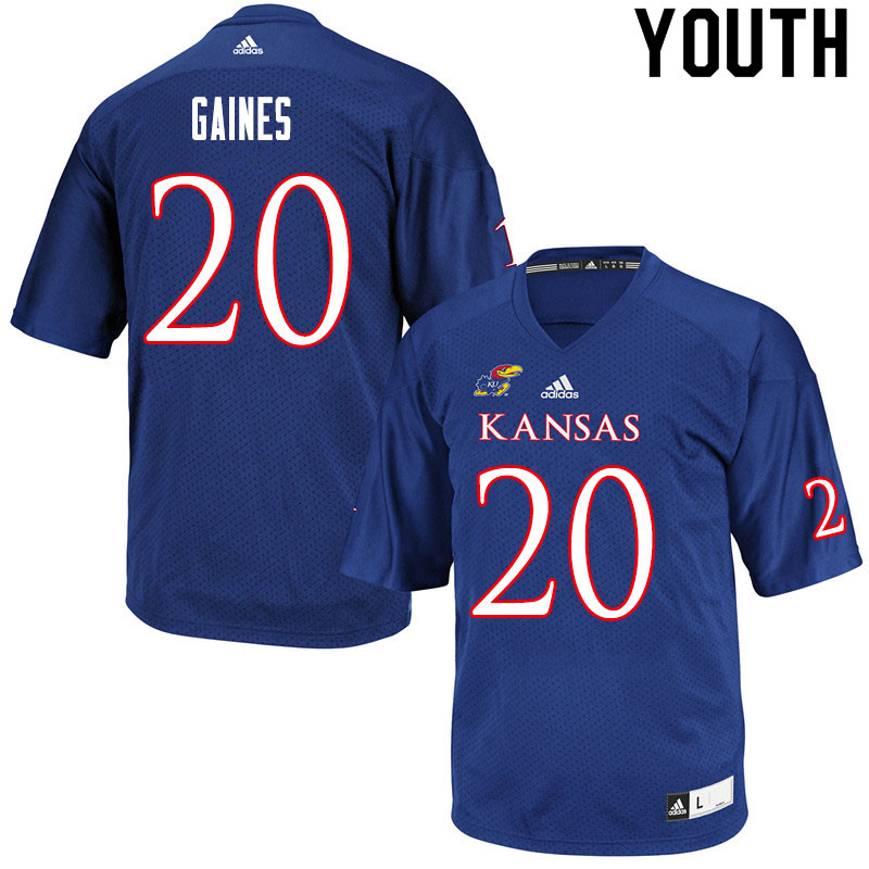 Youth #20 Donovan Gaines Kansas Jayhawks College Football Jerseys Sale-Royal